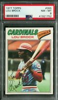 1977 Topps #355 Lou Brock PSA 8 NM-MT