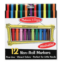 Melissa & Doug Markers - Set of 12 Non-Roll Markers