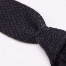 New $295 KITON NAPOLI Charcoal Gray Herringbone Knit Cashmere Tie Square End
