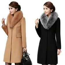 Women Overcoat Windbreaker Faux Cashmere Empire Waist Slim Trench Coat Evening D
