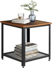 Industrial Square End Table 2-Tier Side Table Coffee Tea Stand Bottom LivingRoom