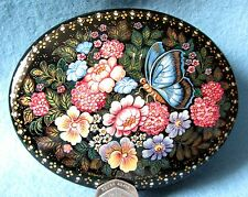 Russian Kholui HAND PAINTED LACQUER Box Beautiful Flowers & Butterly ORLOVA GIFT