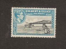 GILBERT & ELLICE ISLANDS 1943 1s BROWNISH BLACK & TURQUOISE perf.13.5 SG51a MINT