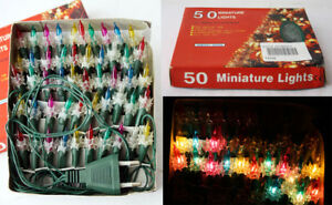 RARE VINTAGE 90'S CHRISTMAS 50 MINIATURE DIAMOND TREE LIGHTS STRING NEW NOS !