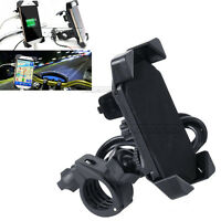 Motorcycle Bike Handlebar 3.5-7 Inch Cell Phone Mount Holder USB Charger