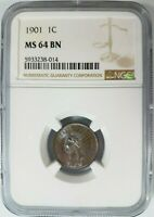 1901 Indian Head Cent NGC MS 64 BN Penny Blue Brown Toning Toned End Roll Album