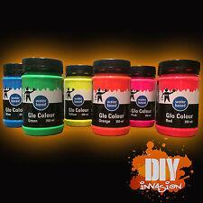 Acrylic Fluorescent Paint 200ml Fluoro Fluro Glo Colour Arts Crafts Water Based