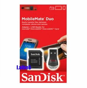 SanDisk MobileMate Duo Micro SD USB card reader with SD Adapter SDDRK-121