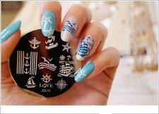 Nail Art Stamping Plates Image Plate Decoration Boats Beach Anchor Sea Holidays