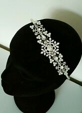 SNOWFLAKE BRIDAL HAIR ACCESSORY SIDE HEADBAND DIAMANTE PEARL WINTER WEDDING XMAS