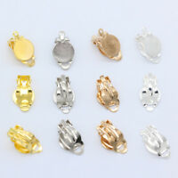 30 gold silver plated Metal earring clip on findings10mm glue on pads No Pierced