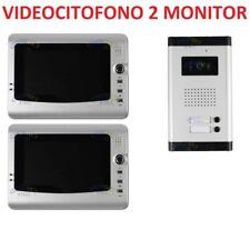 Kit Videocitofono Bifamiliare Colori Telecamera Led Esterno 2 Monitor 7 Pollici