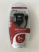Ativa™ USB To Parallel Printer Adapter Cable, 6'