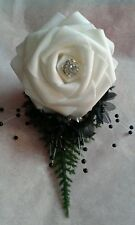 BRIDEGROOM BLACK and WHITE BUTTONHOLE CORSAGE