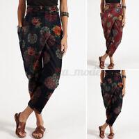 UK Women Bohemia Belt Harem Pants Irregular Casual Loose Floral Printed Trousers