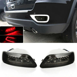 Fits 11-20 Jeep Grand Cherokee Compass Smoked Lens LED Rear Fog w/C-rings Lights