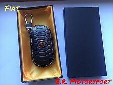 Portachiavi in cuoio NERO scatola regalo Logo FIAT