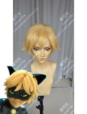 Anime Miraculous Ladybug Adrien / Cat Noir Golden Blonde Cosplay Hair Wig E121