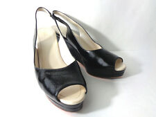 JIL SANDER EUR 41 9.5M Black Patent Leather Wedge Slingback Open Toe Heels ITALY