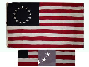 5x8 ft Betsy Ross Historical 100% Cotton Flag 5'x8' Banner Grommets w/ 3 Clips