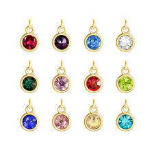 12pcs gold birthstone hang pendant charms fit necklace phone strip Free shipping