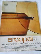 PUBLICITE 1967  Arcopal topaze le premier service en verre à feu de couleur