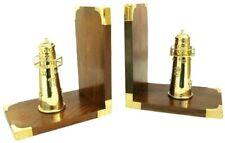 Maritime Buchstützen aus Holz/Messing - Leuchtturm