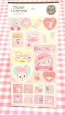GAIA / Lovely Stamp Rabbit Cat Pink Sticker Sheet / Made in Japan  Bunny Sweets