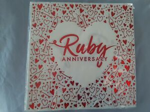 1 sealed pack Ruby Anniversary Red foil Hearts 16 x Luxury Napkins 3 ply BNIP