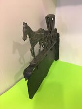 Antique Two Sided Cast Metal Horse Drawn Carriage Stage Coach Plaque sign.