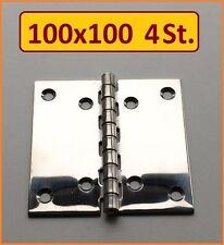 4 Stück INOX Edelstahl VA A2 Scharnier 100x100mm