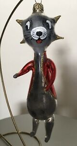Laved CARTOON CHARACTER CAT Vintage Italian Glass Ornament Made in Italy
