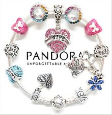 Authentic Pandora Silver Bangle Charm Bracelet Wife Family Love European Charms.