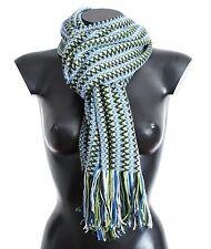 NWT MISSONI Multicolor Zig Zag Pattern Wool Blend Fringed Scarf Wrap 55 x 180cm