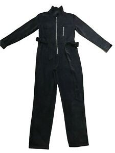 PRETTYLITTLETHING Ladies Overalls Jumpsuit Black Corduroy Belted Size 10
