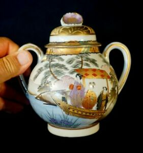 Stunning Satsuma Antique Japanese Hand Painted Eggshell Porcelain Lidded Sugar