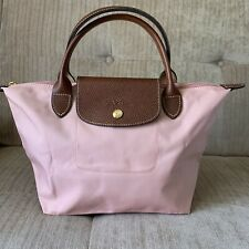 SALE!Auth Longchamp SMALL Blossom Pink Le Pliage Nylon Short Leather Handle Bag