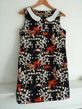 "Ladies Lovely Atmosphere Black Mix Thigh Length Party Dress Size M Pit 19"" Vgc"