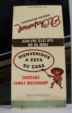 Rare Vintage Matchbook Cover California Sylmar El Chaparral Mexican Cute Cartoon