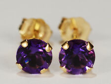 BEENJEWELED GENUINE NATURAL PURPLE AMETHYST EARRINGS~14 KT YELLOW GOLD~5MM