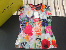 Ted Baker Genuine Ladies BrIana Floral Swirl Print T-Shirt Fuchsia BNWT UK 10