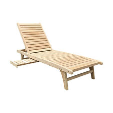 Outdoor/Indoor Wooden Chaise Lounge Patio Solid Lawn Chair Adjustable Furniture