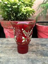 Vintage Red Ruby Glass Gold Floral Hand Painted Candle Stand Shade Lamp Shade