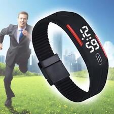 Men Rubber LED Waterproof Watch Date Bracelet Digital Sport Wristwatch BlackR AC
