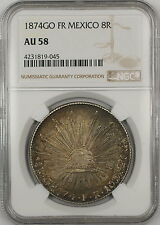 1874-GO FR Mexico 8 Reales Silver Coin NGC AU-58