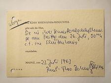 Mainz - KDStV Rhenania-Moguntia - 1963 - Einladung / Studentika