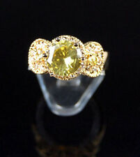 Contemporary 10k Gold Plated Lemon Cubic Zirconia CZ Ring Sz 8