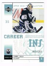 TOMMY SALO 2002-03 UD MASK COLLECTION CAREER WINS JERSEY 032/163