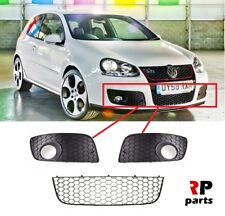 VW GOLF MK5 GTI 03-09 FRONT BUMPER FOGLIGHT GRILLE PAIR WITH LOWER CENTER GRILLE