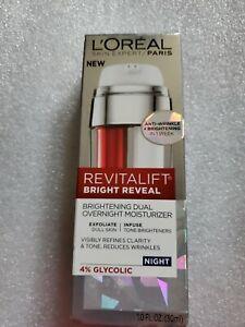 Loreal Paris Revitalift Bright Reveal Brightening Dual Overnight Moisturizer 1oz